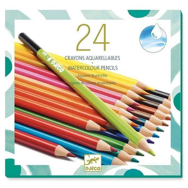 Djeco - 24 crayons aquarellables