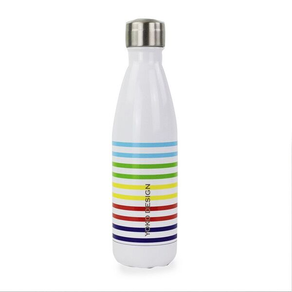 """Yoko Design - BOUTEILLE ISOTHERME 500 ML """" RAINBOW """" BLANCHE"""