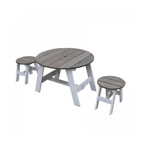 Axi - AXI Ensemble table et 2 tabourets Picnic ronds Blanc Gris