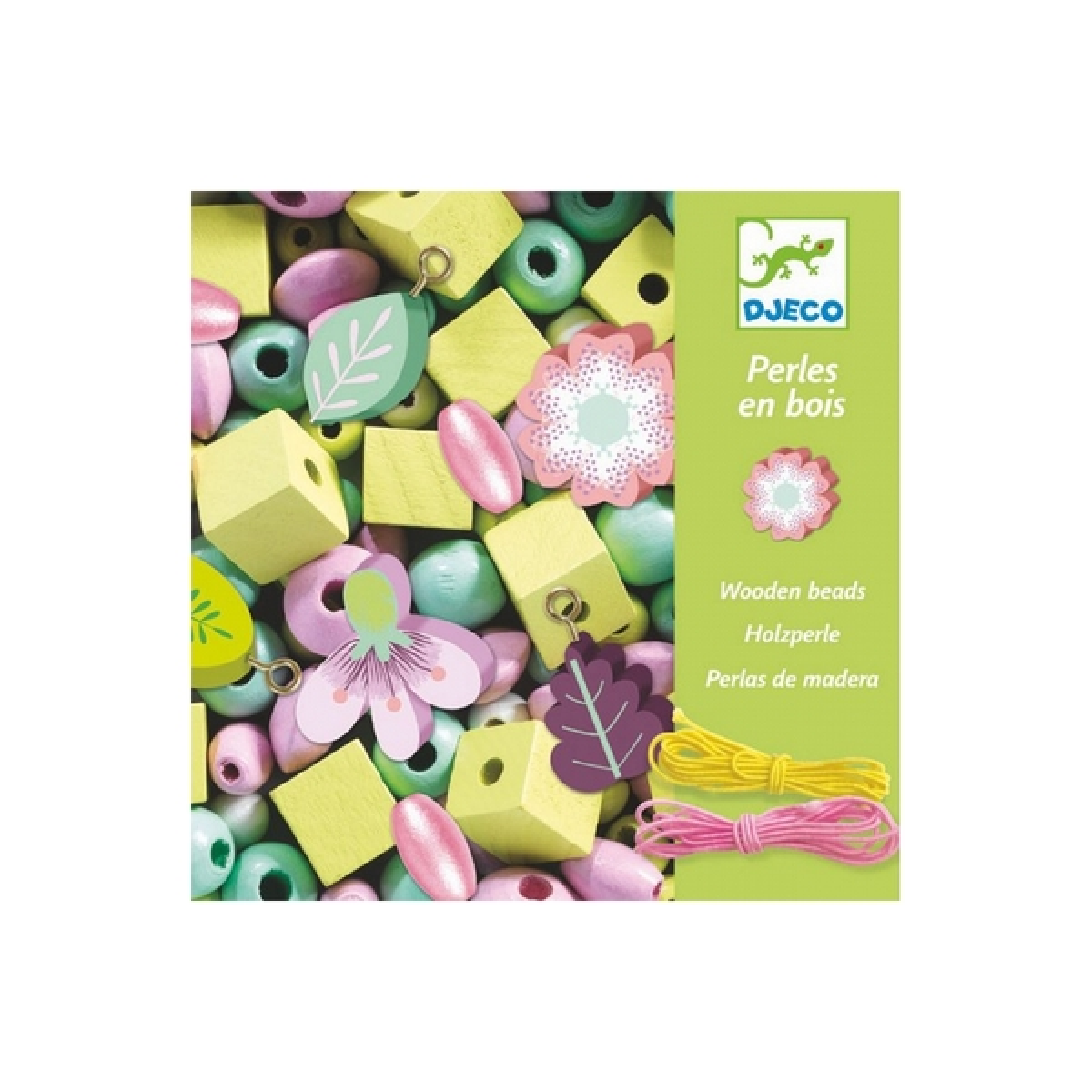 Djeco - Perles en bois Foison de perles Feuilles et fleurs