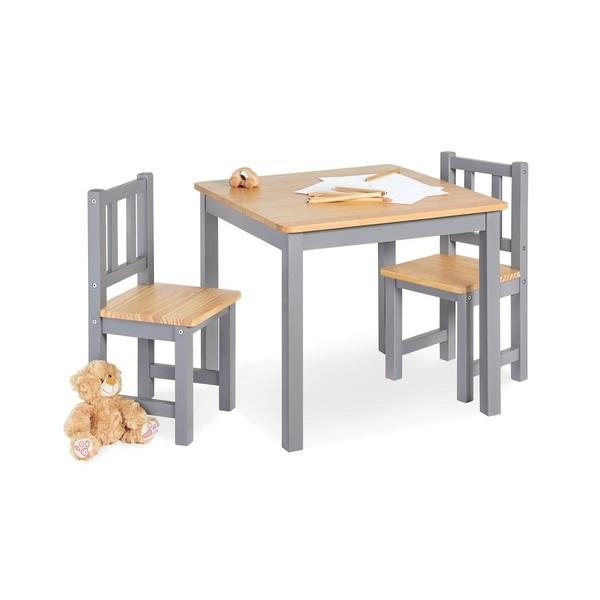 Pinolino - Table enfant Fenna gris naturel 57x57cm + 2 chaises