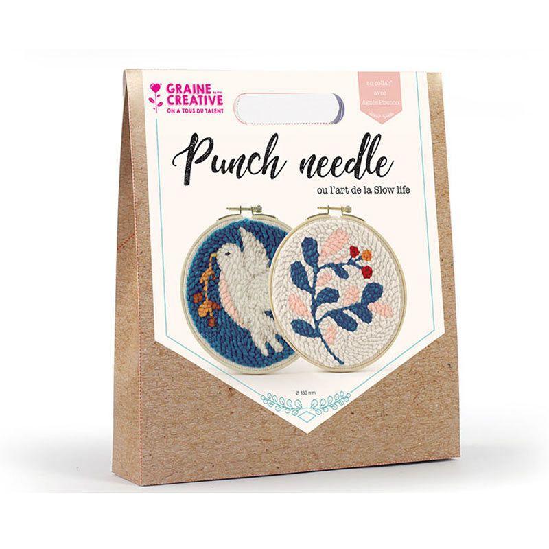 Graine Créative - Coffret 2 punch needle - Diptyque colombe et végétal ø 15 cm