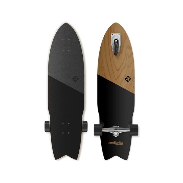 """Street Surfing - Skate Surfboard  Shark Attack 36"""" koa black"""
