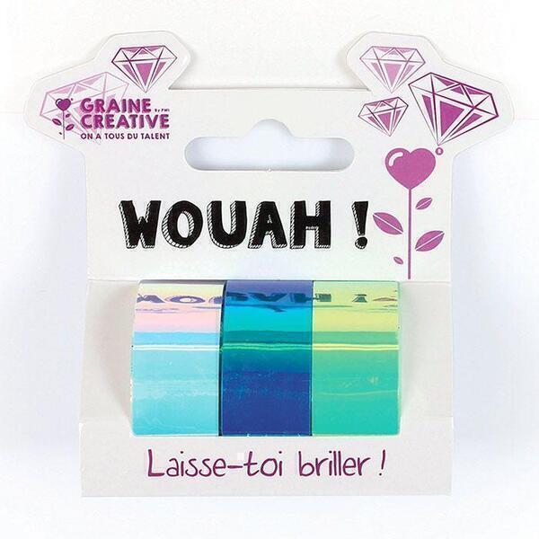 Graine Creative - 3 Tapes IRIDESCENT Blanc Bleu Vert 15mmx5m