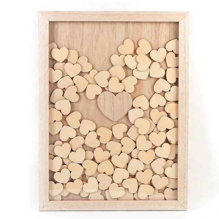 Graine Créative - Cadre en bois personnalisable 30 x 42 cm - 100 messages coeurs