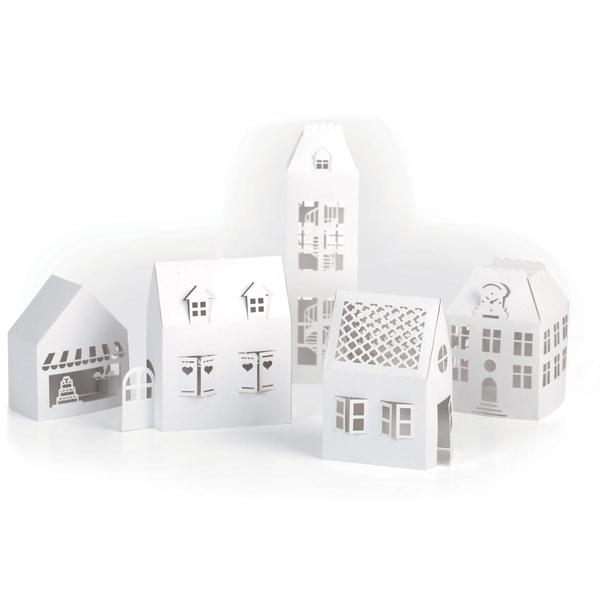 Graine Créative - Lot de 4 maison blanches