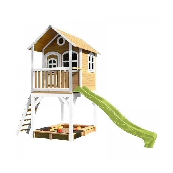 Axi - AXI Maisonnette SARAH Brun Blanc avec toboggan Vert et bac à