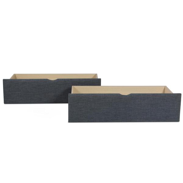 HomeStyle4U - 2 tiroirs de lits a roulettes 99 x 37 x 26 cm gros tissu gris