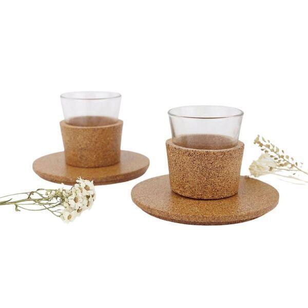 OAK Forest - Tasse à café en liège & verre - Tasse expresso vegan