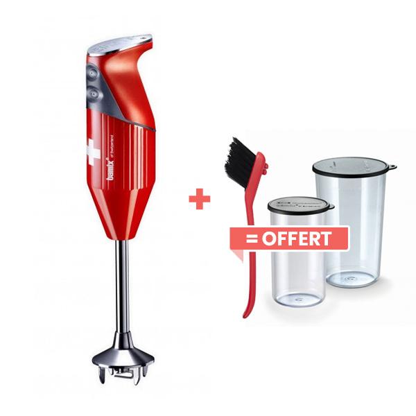 Bamix - Mixeur plongeant M200 SwissLine Rouge et accessoires
