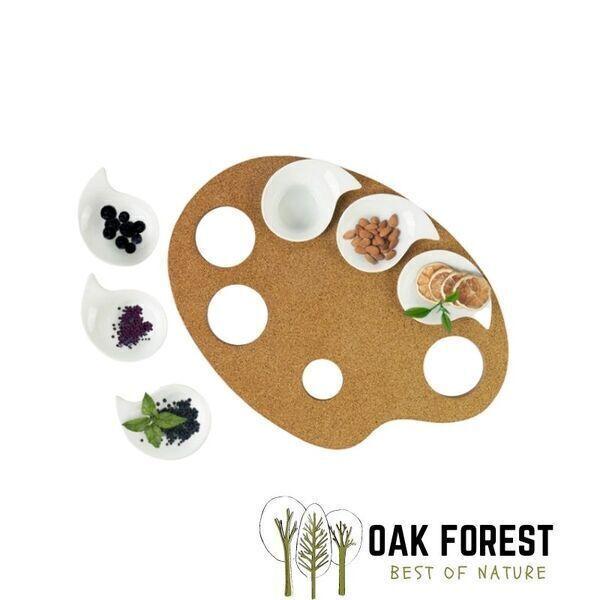 OAK Forest - Plateau apéritif en liège & porcelaine - Plateau vegan