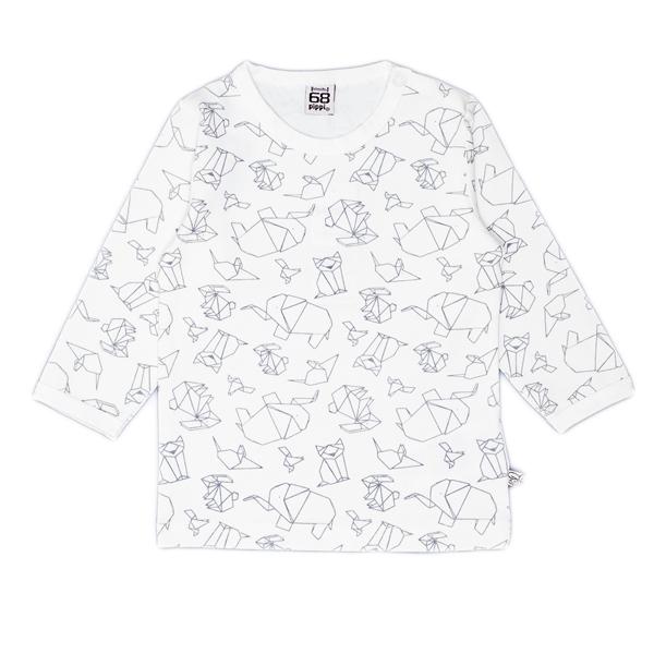 Pippi babyware - t-shirt bébé 12 mois, manches longues, origami, blanc