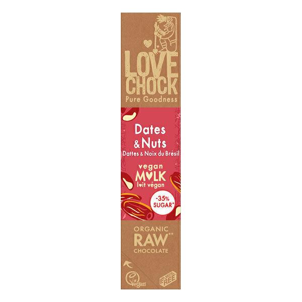 Lovechock - Barre de chocolat cru, dattes et noix du Brésil 40g