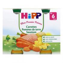 HiPP - 2 Pots Carottes Pomme de Terre Saumon 2x190g dès 6 mois