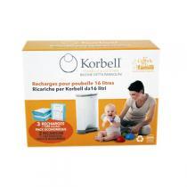 Korbell - Lot 3 Recharges Poubelle à couche 15L