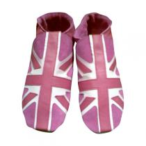 Triggerfish - Pantofole adulto in cuoio Union Jack Rosa