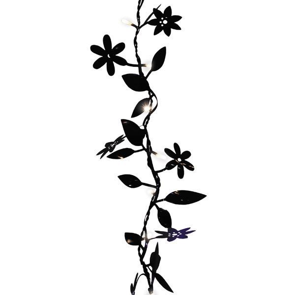 Guirlande feuilles et fleurs noires blach re illumination - Dessin de fleur en noir et blanc ...