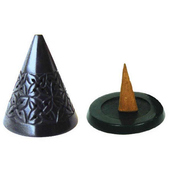 Les Encens du Monde - Porte encens en pierre Ikone noir