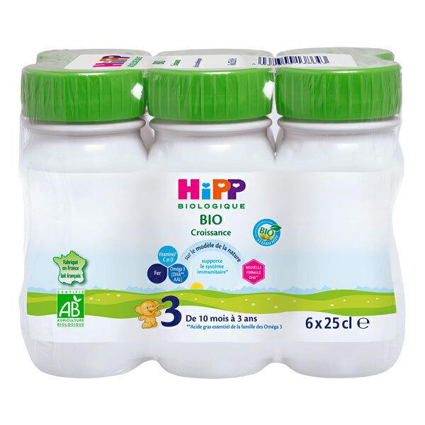 HiPP - Pack de 6 lait de croissance Croissance 3 des 10 mois 25cl
