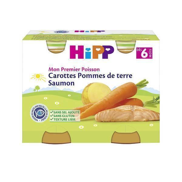 HiPP - 2 pots carottes pomme de terre saumon dès 6 mois 2x190g
