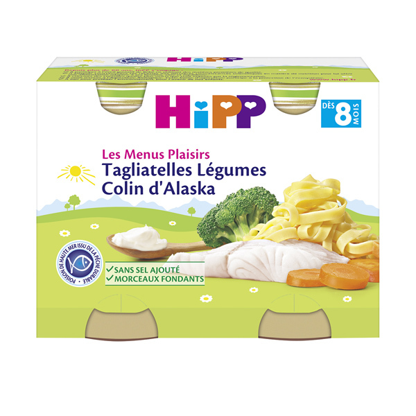 HiPP - 2 pots tagliatelles légumes colin d'Alaska dès 8 mois 2x190g