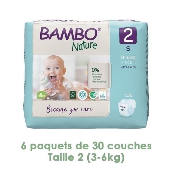 Bambo Nature - Couches Bambo Nature Mini T2 (3-6 kg) - 6 paquets de 30