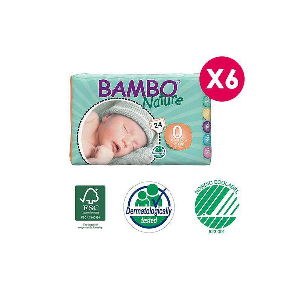 Bambo Nature - Couches Bambo Nature Premature T0 - 1/3 kg - 6 paquets de 24