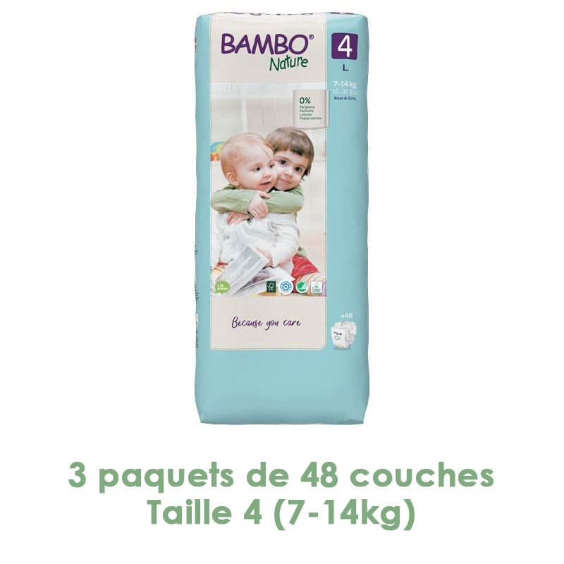 Bambo Nature - Couches Bambo Nature Maxi T4 (7-14kg) - 3 paquets de 48