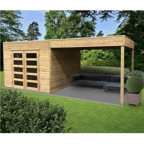 Solid - Abri de jardin en bois traite Tarento avec auvent - 8 m