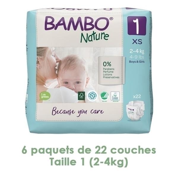 Bambo Nature - Couches Bambo Nature Newborn T1 (2-4 kg)  - 6 paquets de 22