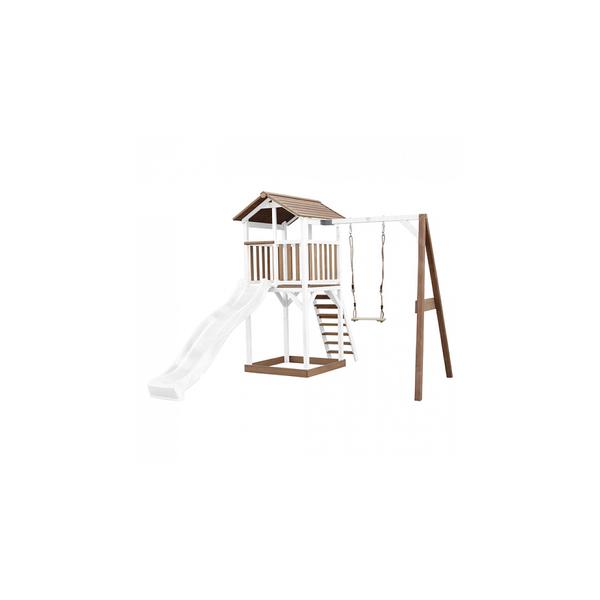 Axi - AXI Beach Tower avec Balancoire Simple Marron Blanc Toboggan