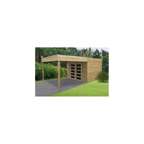 Solid - Abri de jardin en bois traité Matera 298x291+293cm