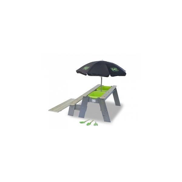 Exit - Aksent Table a sable, eau et pique-nique +1 Banc + Parasol +