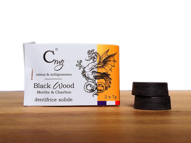 Celsius & milligrammes - Dentifrice solide Menthe Poivrée et Charbon - Black Wood