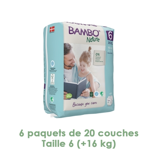 Bambo Nature - Couches Bambo Nature XL T6 - 16+ kg - 6 paquets de 20