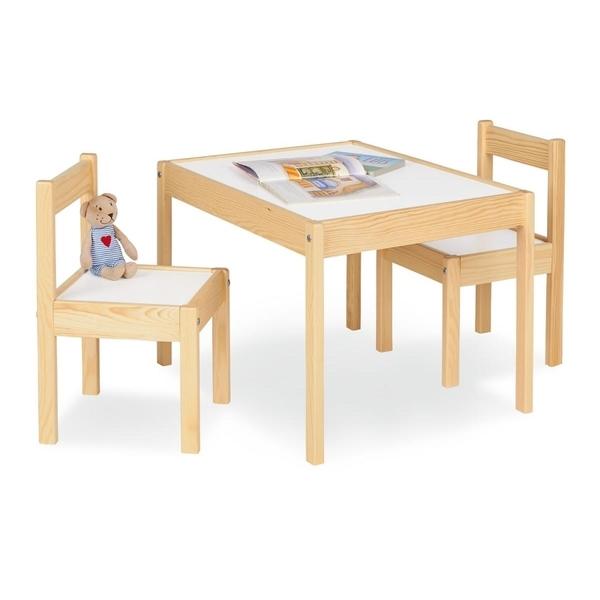 Pinolino - Table enfant Olaf Blanc Naturel 64x50cm + 2 chaises