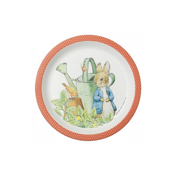 Petit Jour - Assiette bebe Pierre Lapin corail