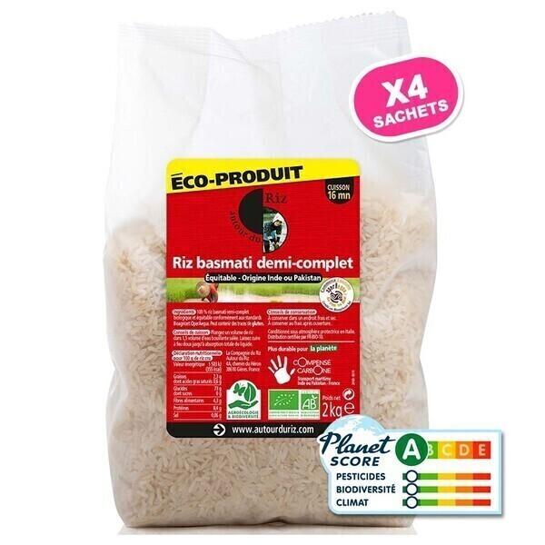 Autour du Riz - Riz Basmati 1/2 complet Commerce équitable - Colis 4 x 2 kg