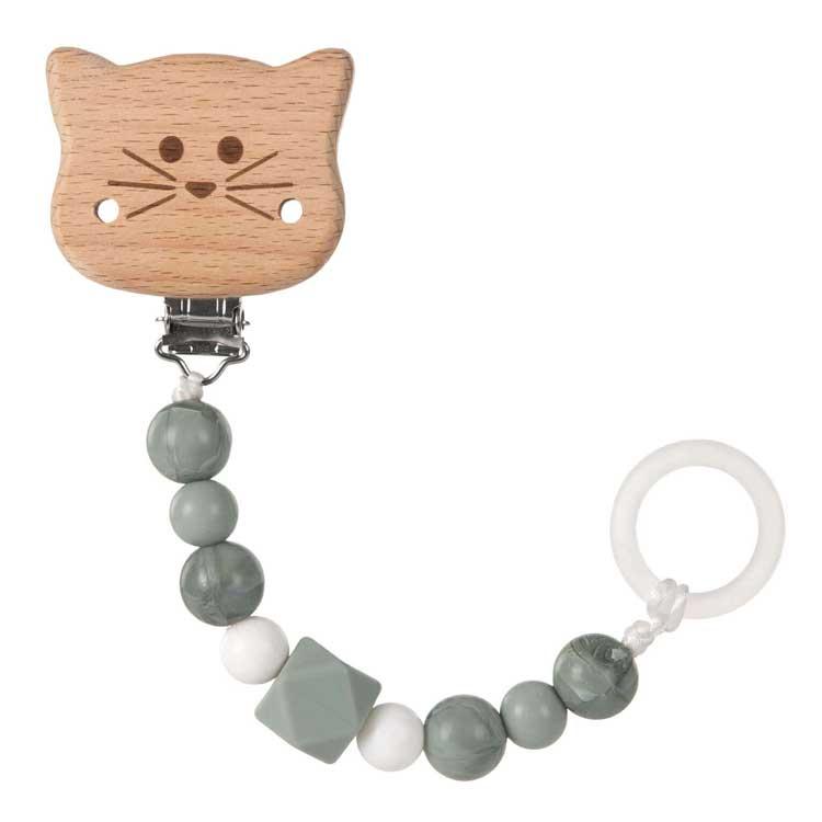 Lässig - Attache tétine en bois et perles en silicone Chat