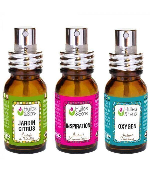 Huiles & Sens - 3 Sprays d'huiles essentielles - à prix découverte