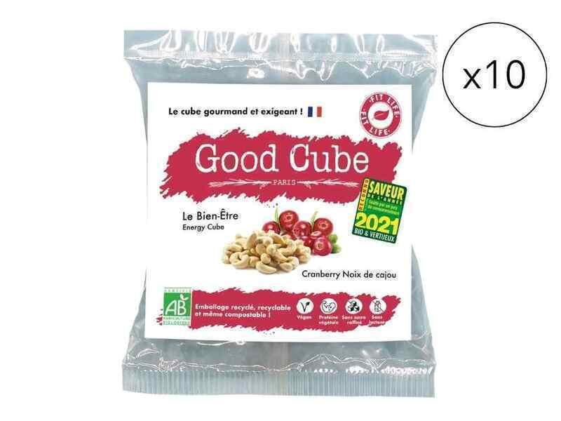 Good Cube - Biscuits bio noix de cajou/cranberries - Le Bien-Être x10