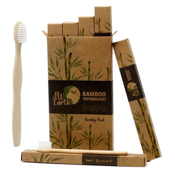 AW Gift - Brosse à dents en bambou. lot de 4 brosses pour la famille