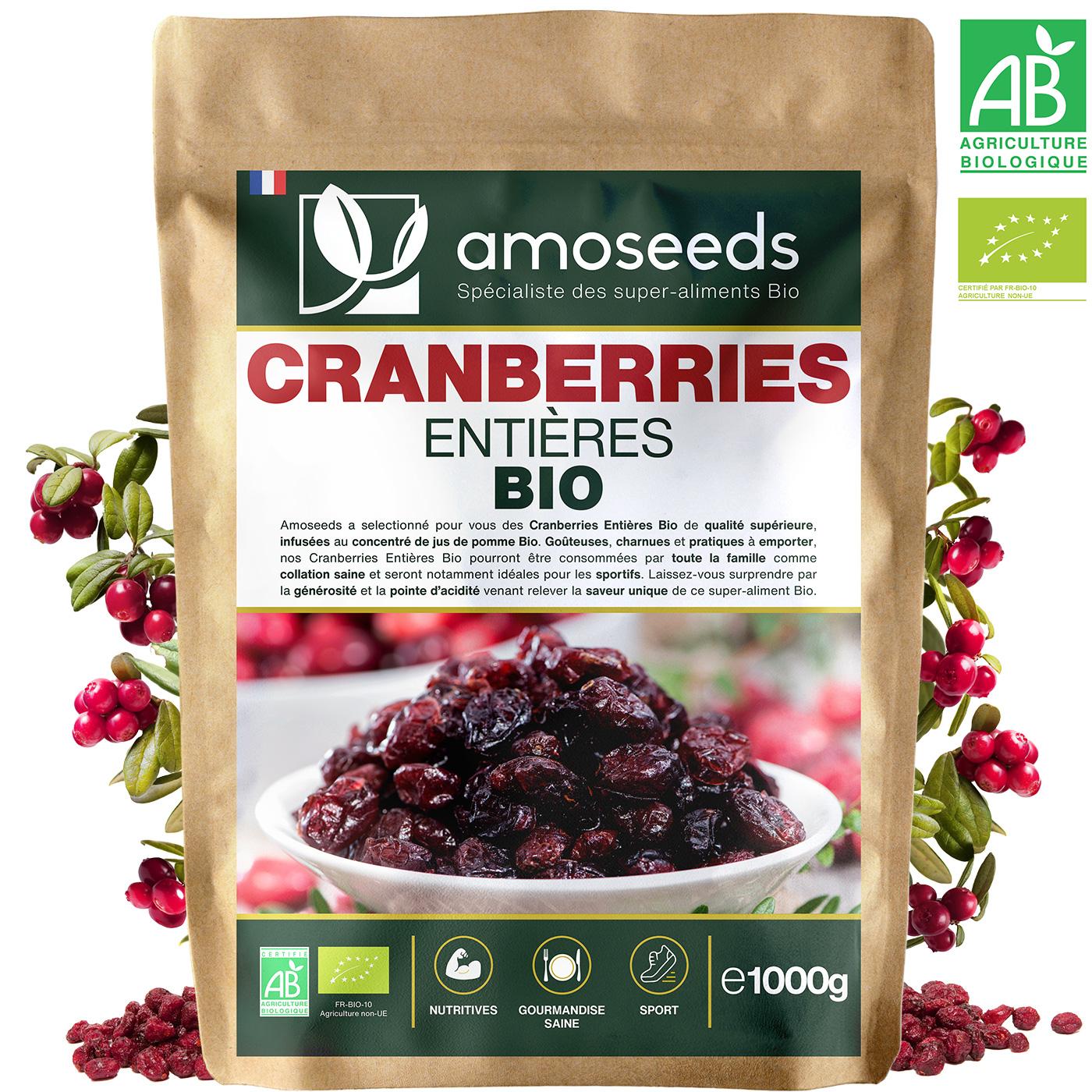 amoseeds - Cranberries Bio Canada - 1KG - Entières Déshydratées