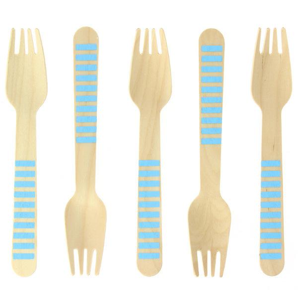 Annikids - 10 Fourchettes en Bois Rayures Bleues - Biodegradable