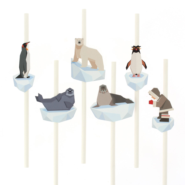 Annikids - 6 Pailles en papier Animaux Polaires - Recyclable