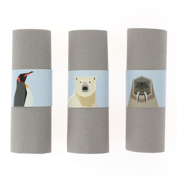 Annikids - 6 Ronds de serviettes Animaux Polaires - Recyclable