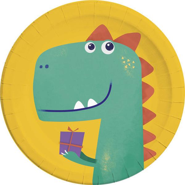 DECORATA PARTY - 8 Assiettes Dino - Compostables