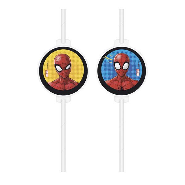 DECORATA PARTY - 4 Pailles Spiderman Team - Recyclable