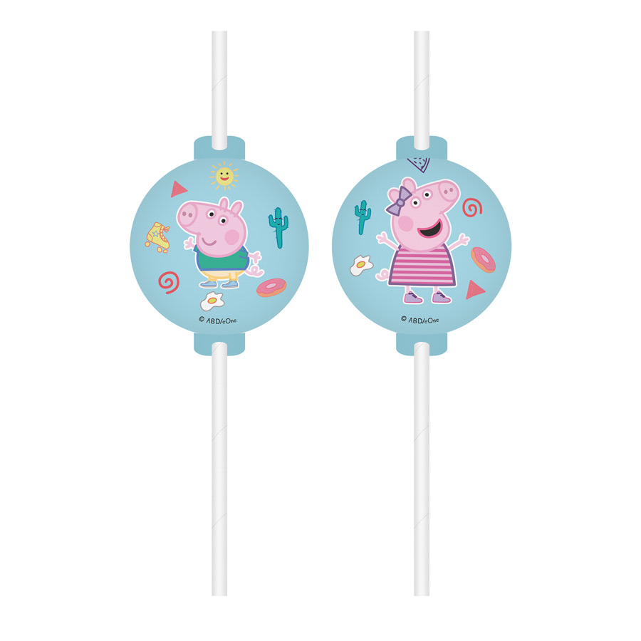 DECORATA PARTY - 4 Pailles Peppa Pig Fun - recyclable