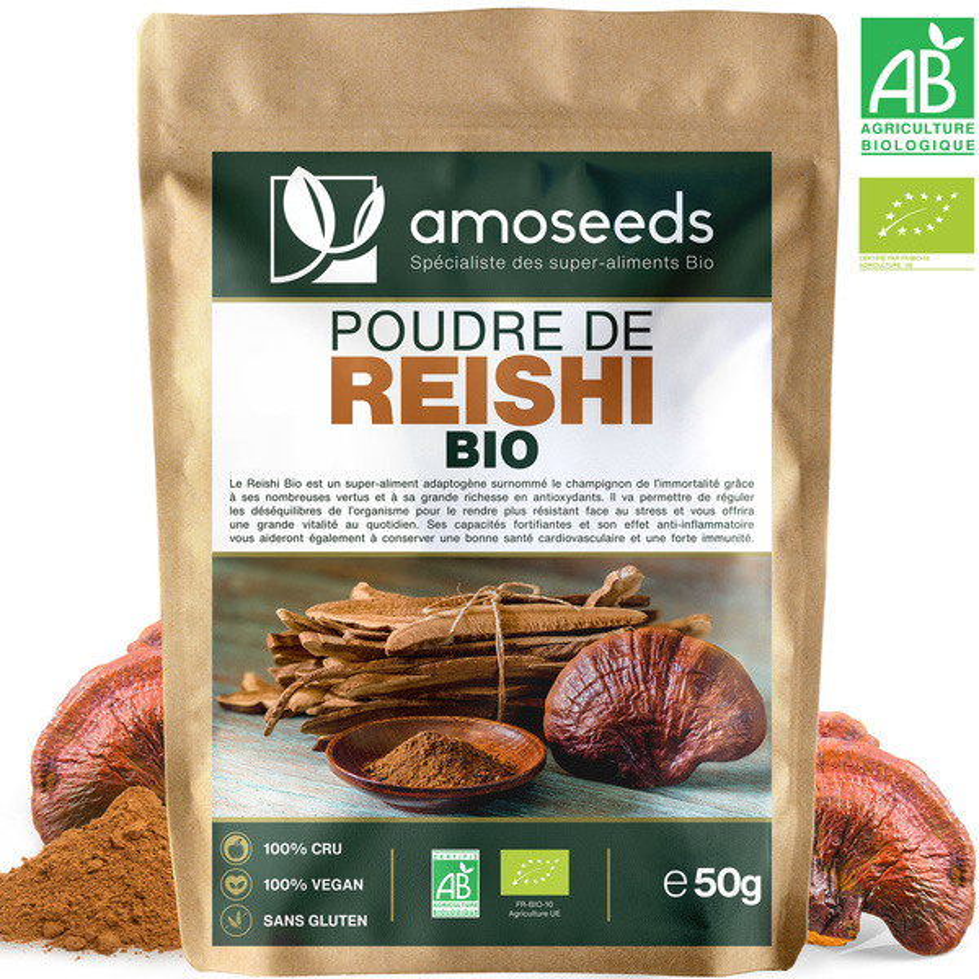 amoseeds - Reishi en Poudre Bio 50G